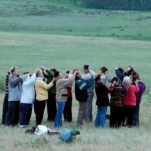 Группа современных сектантов на «сессии»