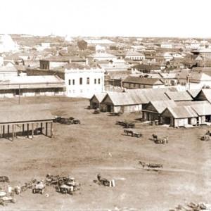 Вид старого Оренбурга с храмами